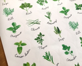 Herb stickers close-up